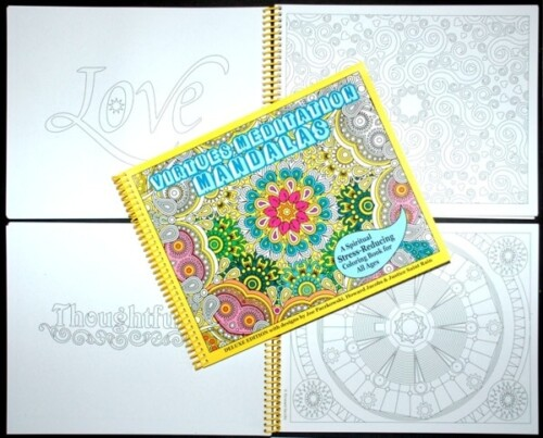 Virtues meditation mandala Coloring Book for adults