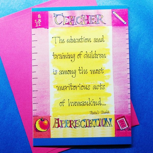 Teacher Appreciation Note Card