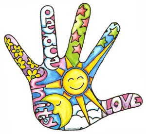 Love peace and unity hand T-shirt