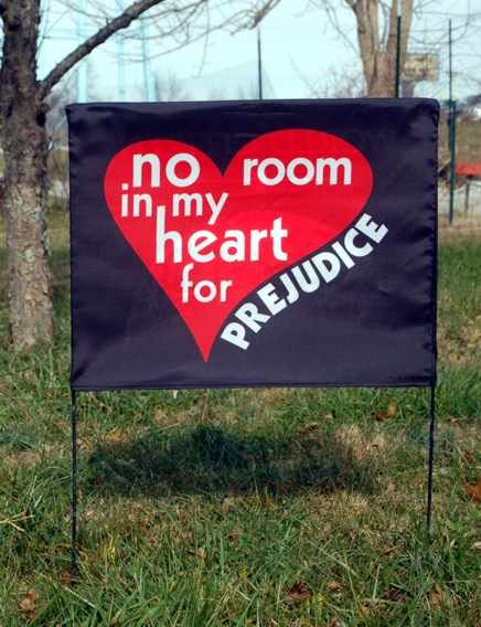 no room in my heart for prejudice side of yard flag