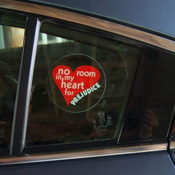Window decal on car