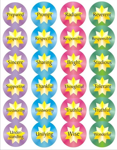 72 Virtue Star stickers
