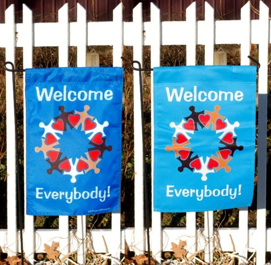 Everybody welcome flag front