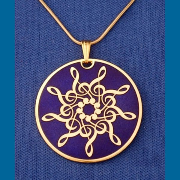 Gold Plated Treble Clef Star Pendant