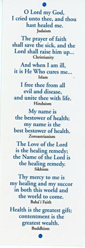 Interfaith prayer for healing back