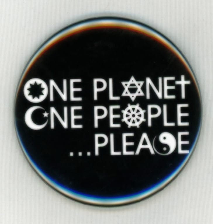 One Planet, One People . . . Please Button