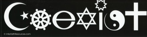 Coexist removable bumper sticker
