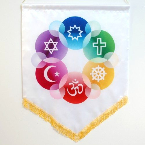 Interfaith Chapel Flag in White Satin