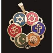 Large Gold Plated Cloisonne Interfaith Pendant