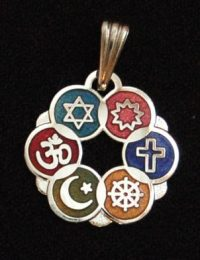 Smaller Silver Plated Cloisonne Interfaith Pendant