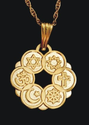 Smaller Gold Plated Interfaith Pendant