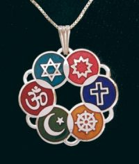 Large Silver Plated Cloisonne Interfaith Pendant