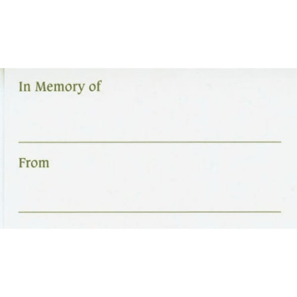In Memory of . . . Calling Cards