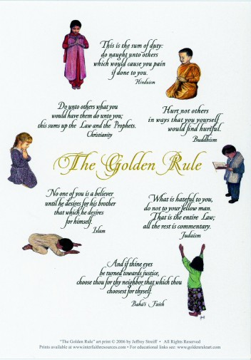 Praying Children Golden Rule Postcards