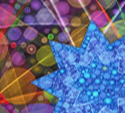 Long Blue 9-Pointed Star Kimono Silk Scarf Second