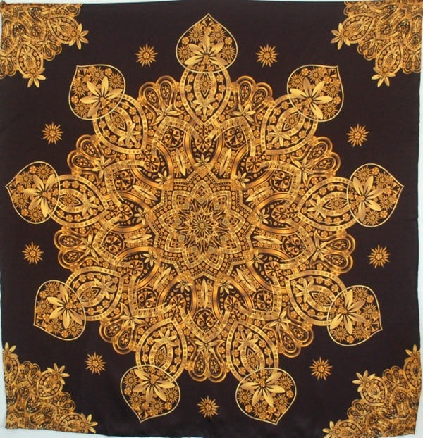 Liquid Gold 9-Pointed Star Square Silk Satin Scarf