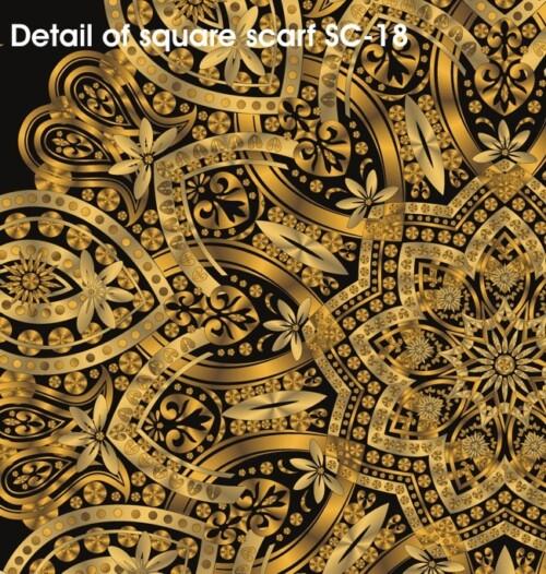 Liquid Gold 9-Pointed Star Square Silk Satin Scarf