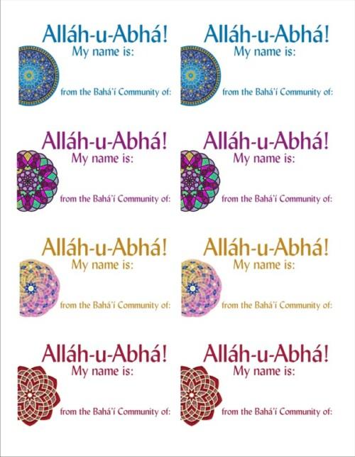 Allah-u-Abha Bahá'í Name Tags