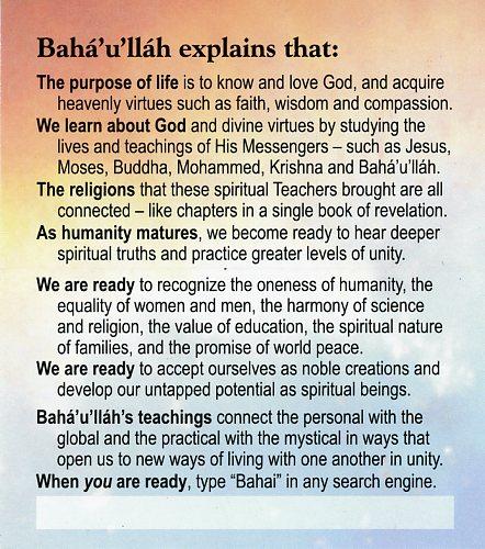 Tell Me About Baha'u'llah -Teaching Cards