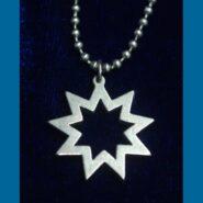 Steel Bahai Star Pendant with chain