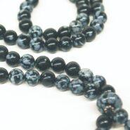 Snowflake Obsidian Bahai Prayer Beads