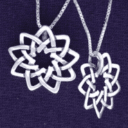 Floating Floral 9-Pointed Star in Sterling Silver