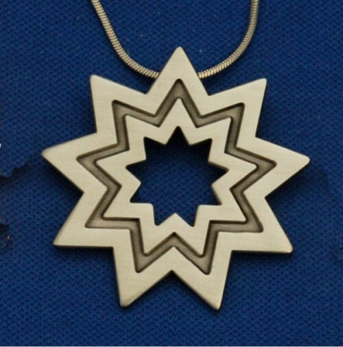 Large Antique Silver Floating Star Pendant