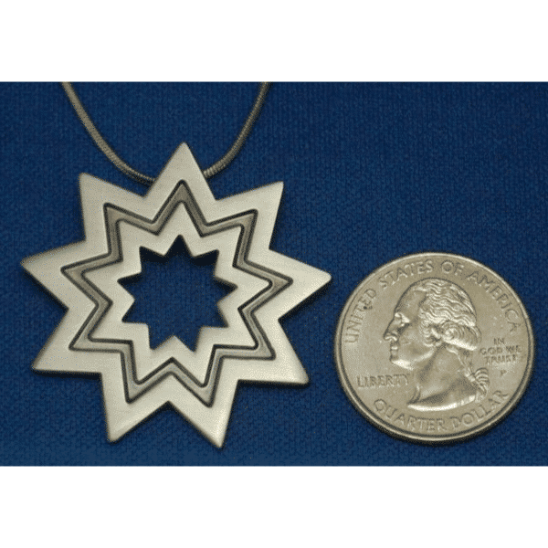 Large Silver Plated Bahai Star Pendant