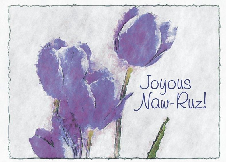 Purple Tulip Joyous Naw-Ruz Card