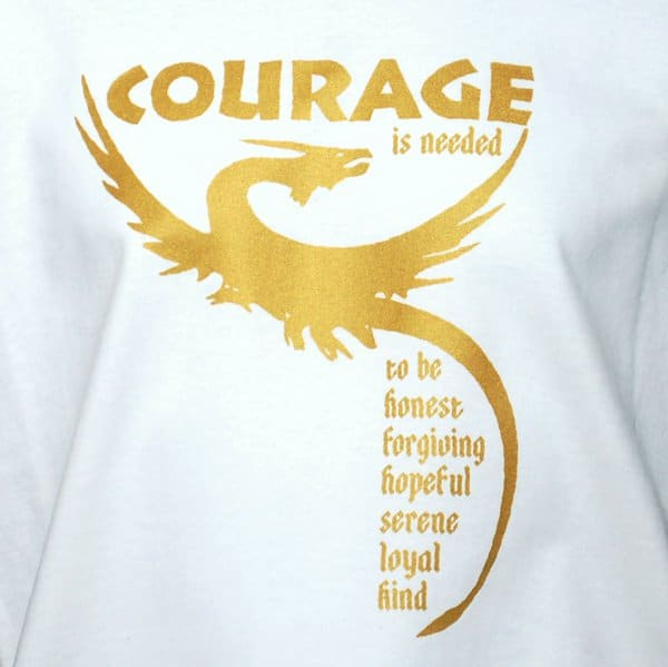 SALE! Courage is needed Dragon T-shirt on White/Natural
