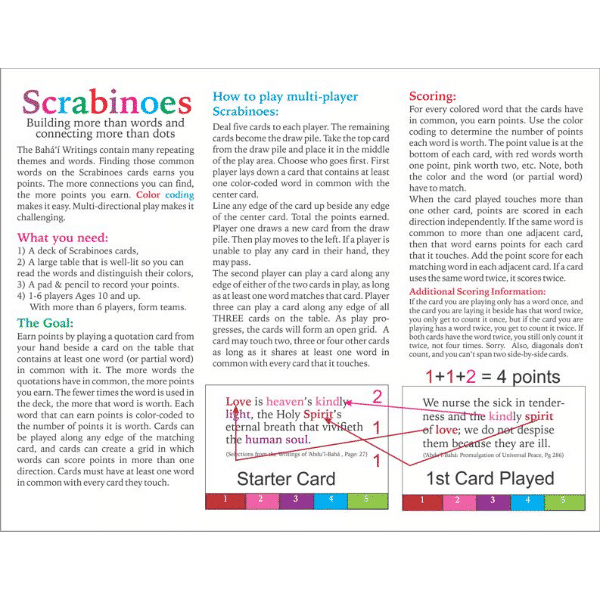 Scrabinoes Bahai Word-Matching Card Game