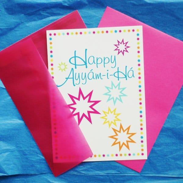 Happy Ayyam-i-ha card with envelope