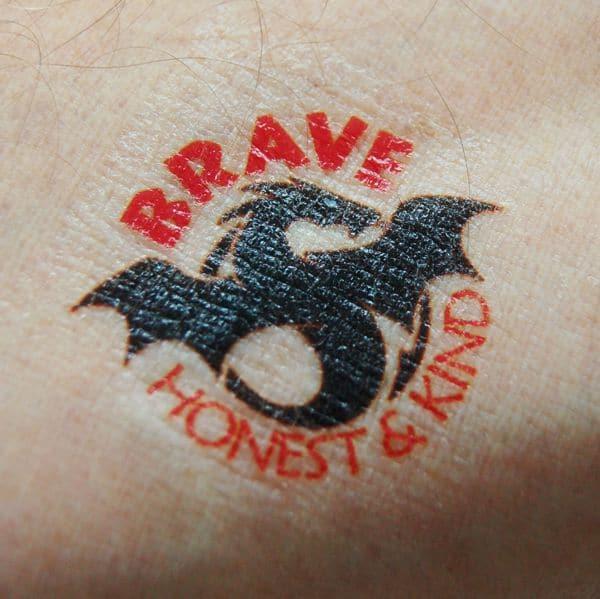 Brave Honest & Kind Dragon Temporary Tattoo